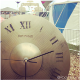 A Rock Terrace upcycled cymbal clock at Glastonbury festival
