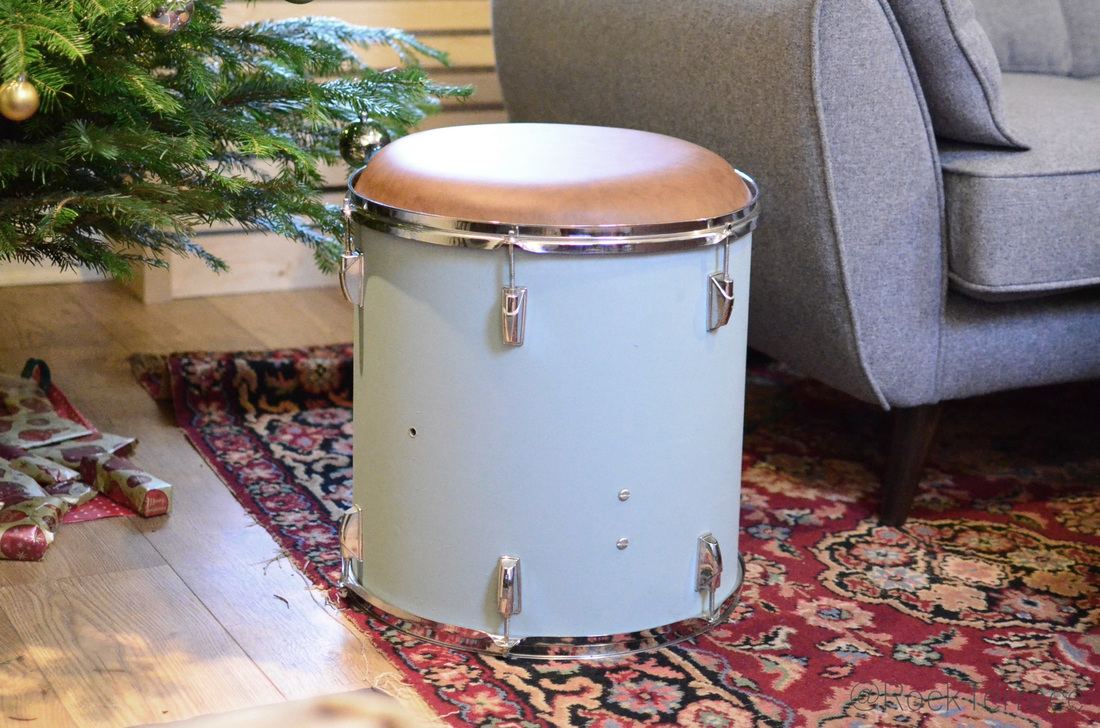 Floor tom drum stool painted in Farrow and Ball Oval Room Blue paint