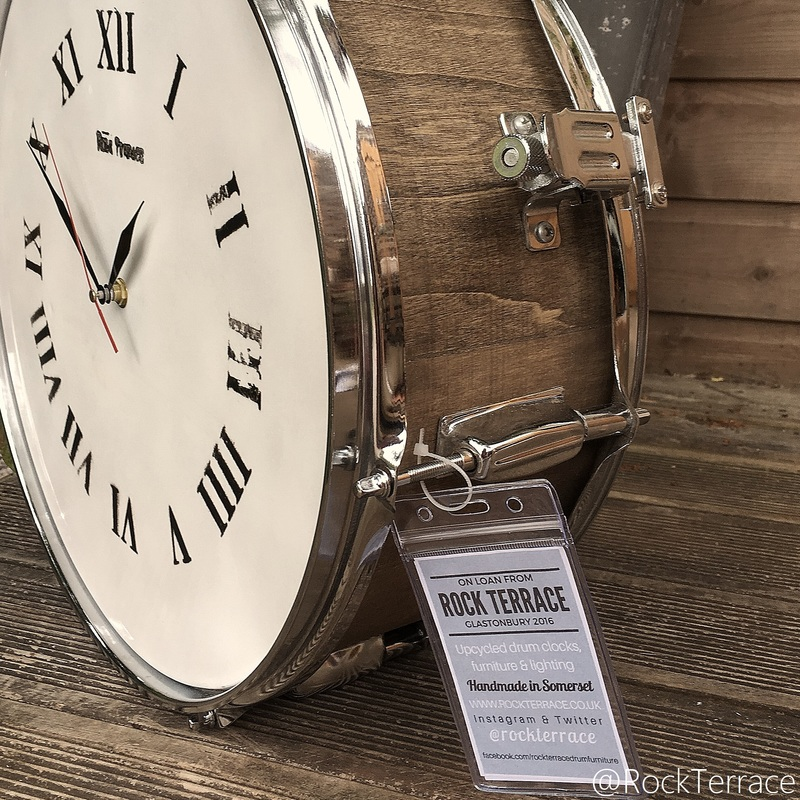 Rock Terrace wooden snare drum upcycled clock