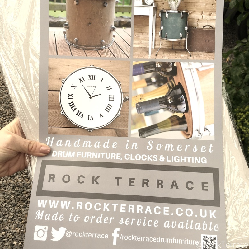 Advertising poster for Rock Terrace upcycled drum furniture