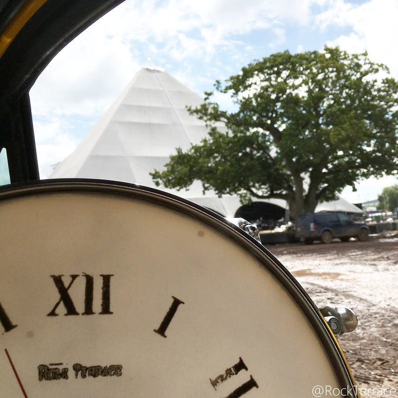 A Rock Terrace upcycled clock at Glastonbury Festival Pyramid Stage