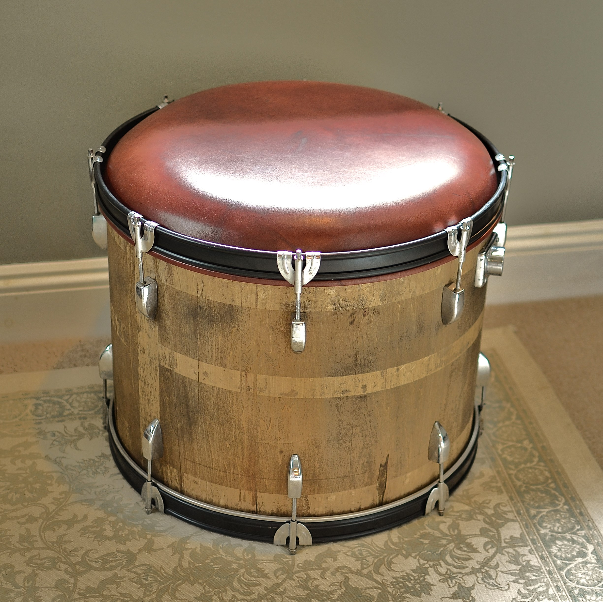 Wood and Leather Bass Drum Stool